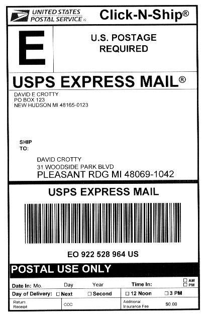 U.S. Postal Service Express Mail airbill.